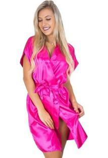 Robe Mvb Modas Cetim Feminino - Feminino-Rosa