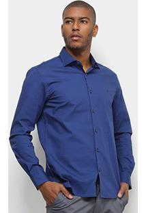 Camisa Manga Longa Vr Lisa Masculina - Masculino-Azul