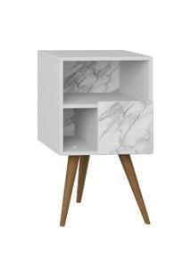 Mesa De Cabeceira C/ Porta Branco/Carrara Be Mobiliário
