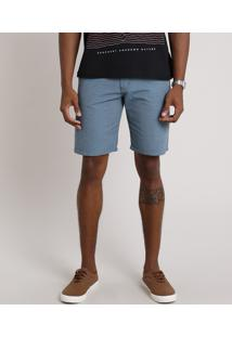 Bermuda Masculina Reta Texturizada Com Bolsos Azul