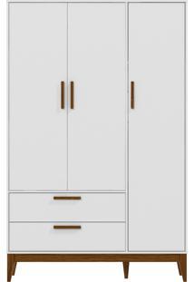 Roupeiro 3 Portas Nature Branco-Acetinado E Eco Wood Matic Móveis