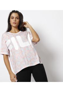 Camiseta Camuflada Fila® - Azul Claro & Rosa Clarofila