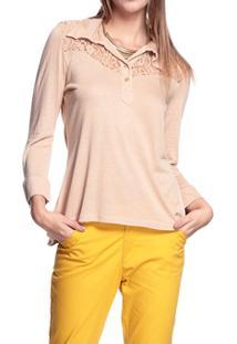 Blusa Moché Gola Camisa - Feminino-Bege