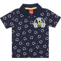 Camisa Polo Algodao Com Rasgos infantil  d4583e36764