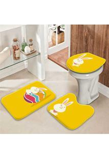 Jogo Tapetes Para Banheiro Feliz Páscoa Amarelo