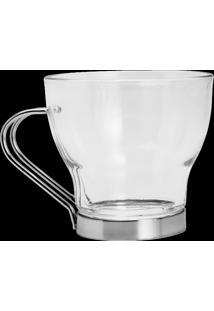 Conjunto De 6 Xícaras De Vidro P/Café C/Haste De Metal Duna Ii 170Ml