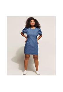 Vestido Jeans Feminino Curto Com Pences Manga Bufante Azul Médio