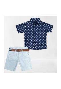 Camisa Estrela Com Bermuda Branca Infantil