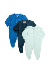 Macacão Plush Bebê Kit 3 Peças Pijama Masculino