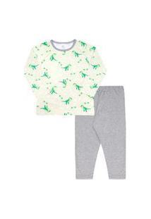Pijama Infantil Masculino Meia Malha Camiseta Manga Longa Verde Dinos E Calça (4/6/8) - Kappes - Tamanho 8 - Verde,Mescla