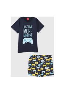 Pijama Tricae Curto Infantil Vídeo Game Azul-Marinho