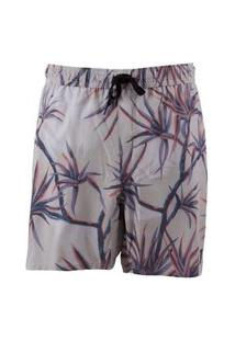 Bermuda Água Quiksilver Salty Palms Volley 18 Areia Bege