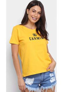 Camiseta T-Shirt Carmim Estampada Manga Curta Feminina - Feminino
