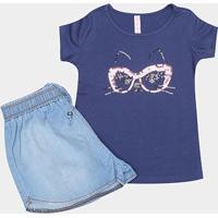 2945b8cd75 Conjunto De Blusa E Short Jeans Infantil Cativa Feminino - Feminino