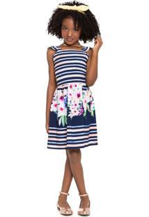 Vestido Em Tecido Listrado Floral Mundi Azul