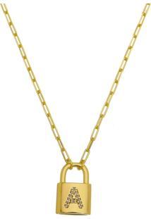 Gargantilha A De Amor Modelo Cadeado Tudo Joias Folheado A Ouro 18K Dourada