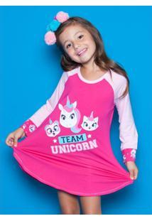 Camisola Infantil Puket Visco Unicórnio Feminina - Feminino
