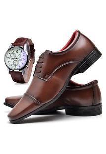 Sapato Social Masculino Asgard Com Relógio Db 807Lbm Marrom