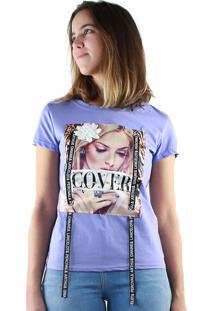 T-Shirt Multi Ponto Denim Estampada Cover Roxo
