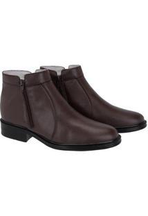 Bota Social Tchwm Shoes Ziper Masculina - Masculino-Marrom