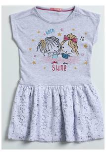 Vestido Infantil Manga Curta Renda Marisa