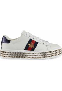 Gucci Tênis Ace Com Cristais - Branco