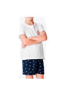 Pijama Infantil Menino Curto Malwee 1000083394 Branco