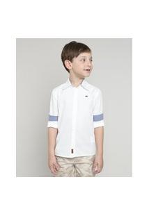Camisa Infantil Com Bordado Manga Longa Off White