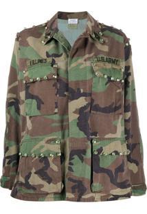 P.A.R.O.S.H. Jaqueta Militar Com Estampa Camuflada - Verde