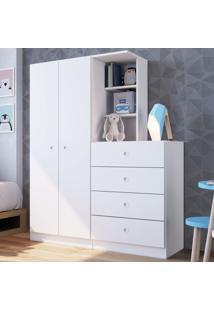 Guarda-Roupa Infantil Montessoriano 2 Portas 4 Gavetas Branco - Art In Móveis