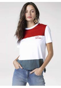 T-Shirt Em Malha De Algodão Com Bordado Frontal
