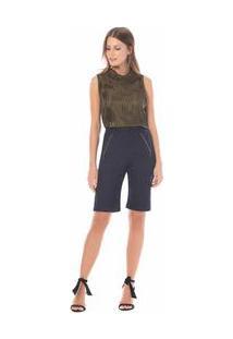 Bermuda Slim Detalhe Ziper Jeans 34