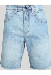 Bermuda Jeans Masculina Com Barra Desfiada Jeans Claro