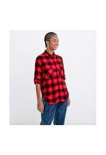 Camisa Manga Longa Estampa Xadrez Com Bolsos | Blue Steel | Vermelho | P