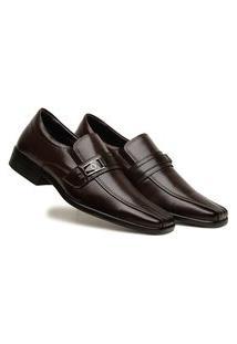 Sapato Social Masculino Café Confortável Calce Fácil Confort