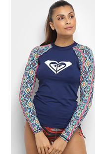 Camiseta Lycra Surf Roxy Manga Longa Rashguard Pasadena Feminina - Feminino