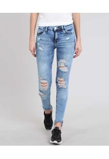 Calça Jeans Feminina Skinny Destroyed Com Bolso Azul Médio