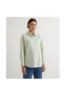 Camisa Em Tricoline Com Manga Longa   Marfinno   Verde   M