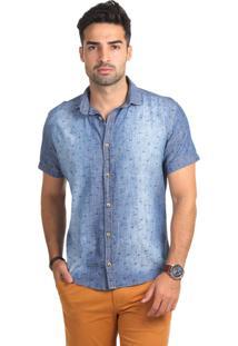 Camisa Jeans Micro Estampada Thones Slim Azul