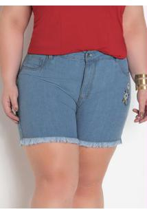 Short Jeans Claro Plus Size Com Bordado Floral