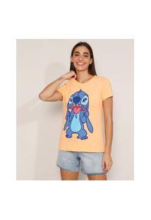 Camiseta De Algodão Stitch Manga Curta Decote Redondo Laranja