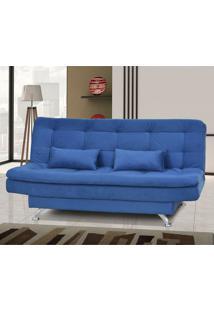 Sofá Cama Matrix Salomé 3 Lugares Com Encosto Reclinável Azul
