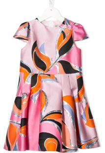 Emilio Pucci Junior Vestido Com Estampa Gráfica - Rosa