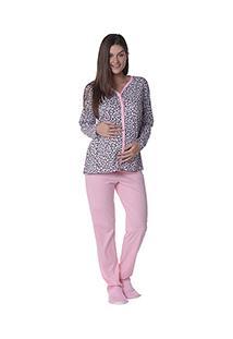 Pijama Longo Gestante Aberto Estampado Fashion - Luna Cuore 1743
