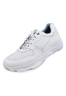 Tenis Casual Masculino Sneaker Chunky Conforto Couro Branco