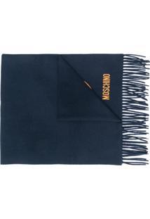 Moschino Cachecol Com Logo Bordado - Azul