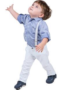 Calça De Sarja Com Elastano Skinny Bebê Lazy Branca Multicolorido
