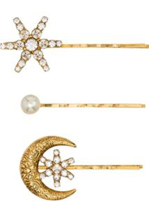 Jennifer Behr Conjunto Com 3 Presilhas De Cabelo De Lua E Estrela Com Cristal E Esfera Perolada - Dourado