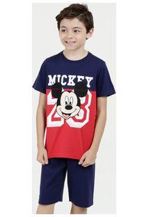 Pijama Infantil Mickey Manga Curta Disney
