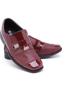 Sapato Social Infantil Menino Bico Quadrado Conforto Festa - Masculino-Vermelho